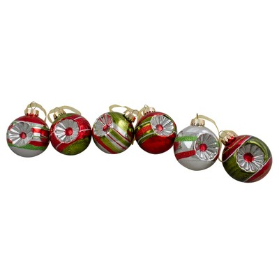 "Northlight 6ct Silver and Red 2-Finish Retro Reflector Christmas Ball Ornaments 2.75"" (55mm)"