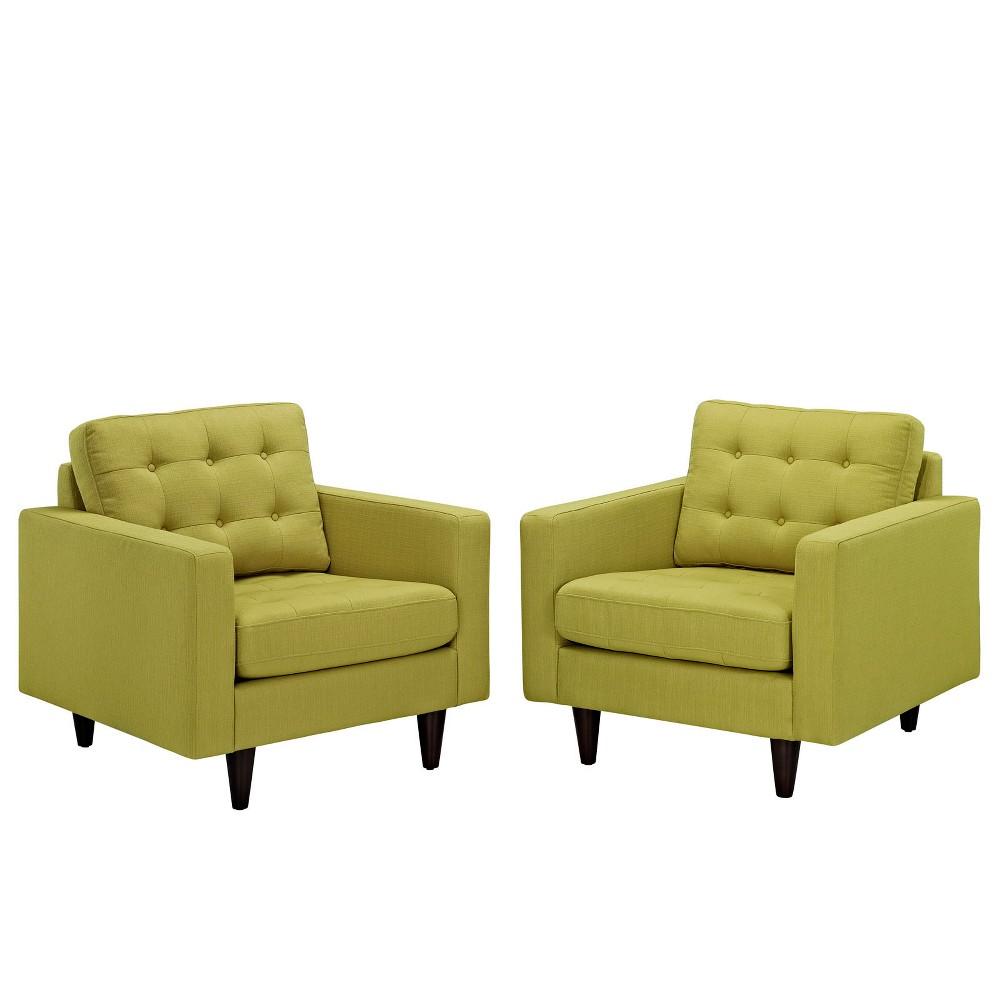 Empress Armchair Upholstered Set of 2 Wheatgrass (Green) - Modway