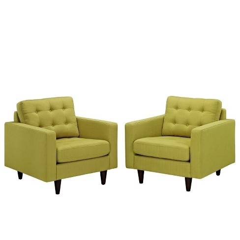 Empress Armchair Upholstered Set of 2 Wheatgrass - Modway - image 1 of 5