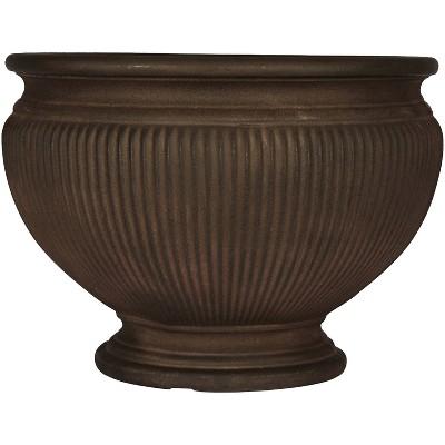 "Sunnydaze Indoor/Outdoor Patio, Garden, or Porch Weather-Resistant Double-Walled Elizabeth Ribbed Urn Flower Pot Planter - 16"" - Rust Finish"