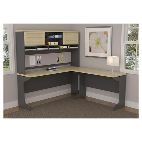 Pursuit Benjamin L Shaped Desk With Hutch Bundle Natural Gray Ameriwood Home Target