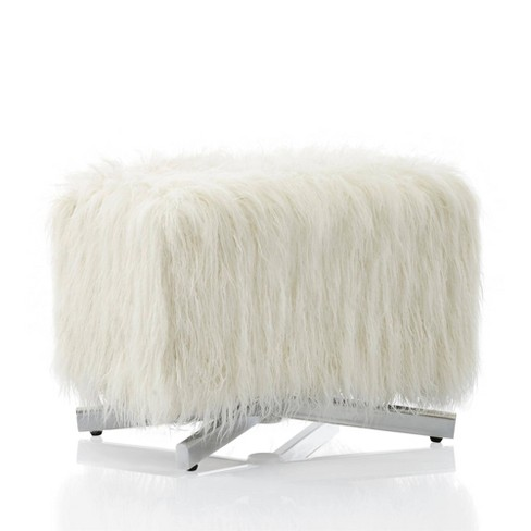 Estelle Ottoman with Faux Fur White - CosmoLiving by Cosmopolitan - image 1 of 6
