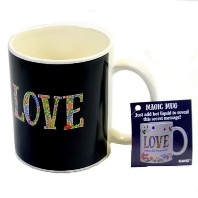 "Tabletop 3.75"" Black Magic Mug Flowers Mug Secret Message Ganz  -  Drinkware"