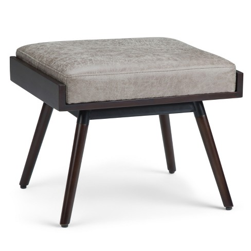 Brenner Footstool Distressed Gray Taupe Faux Air Leather - Wyndenhall - image 1 of 11