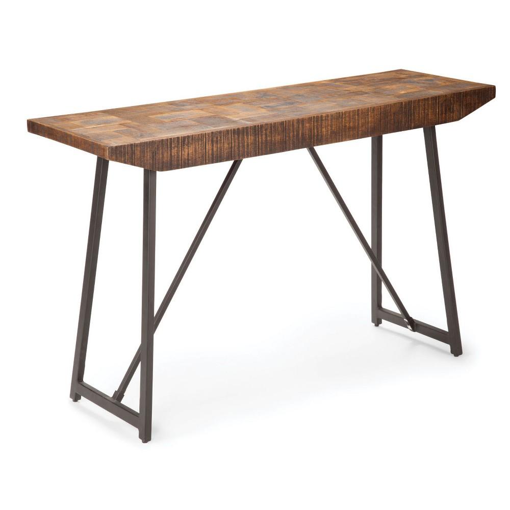 Walden Parquet Sofa Table Gray/ Natural (Gray/Natural) - Steve Silver