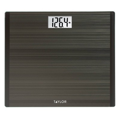 Glass Digital Scale with High Capacity and Wide Platform in Striated Design Gray - Taylor