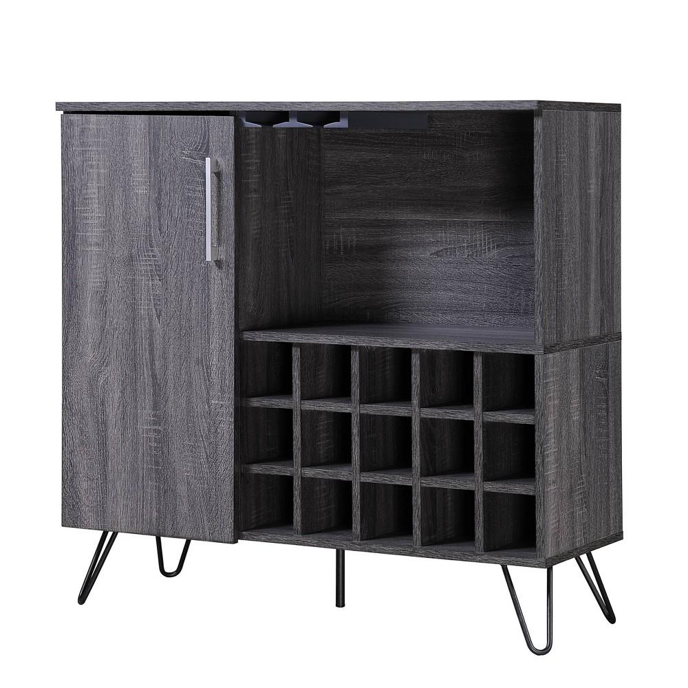 Lochner Mid Century Wine and Bar Cabinet Sonoma Gray Oak- Christopher Knight Home, Gray Oak