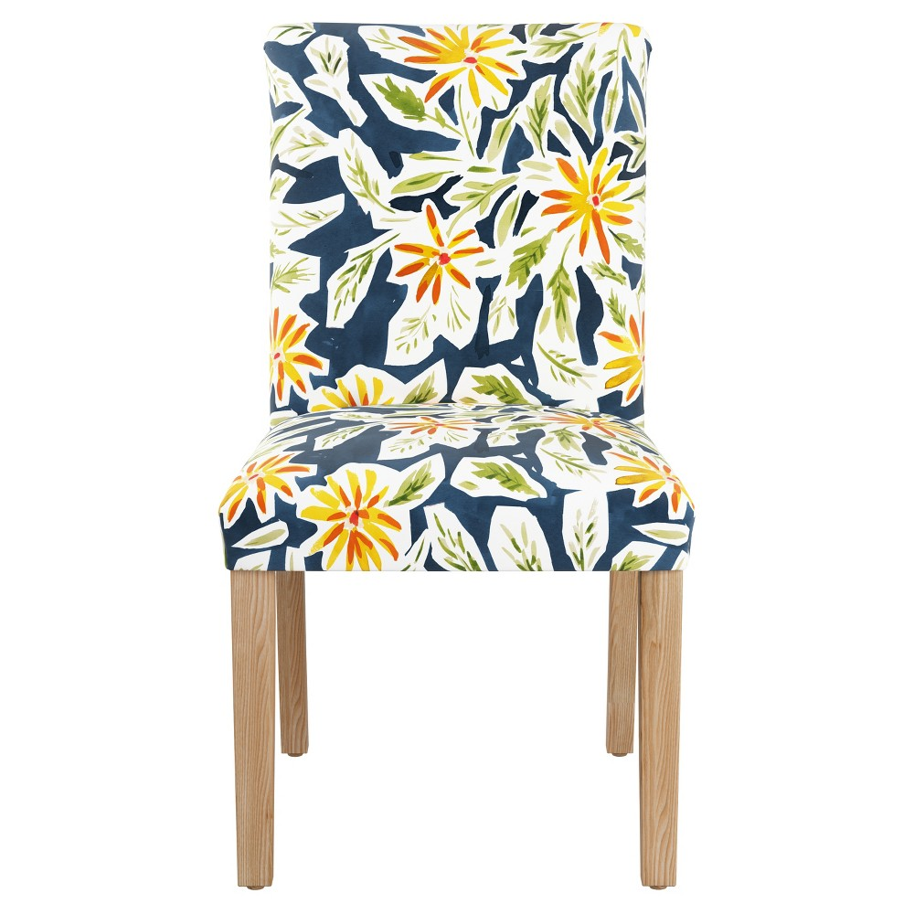 Hendrix Dining Chair with Natural Legs Orange Floral - Cloth & Co.