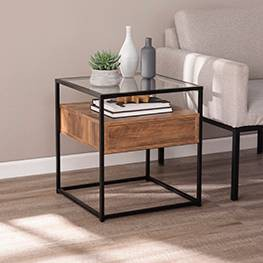 Olivia Glass Top End Table with Storage Brown - Aiden Lane