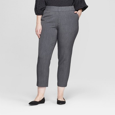 Women's Plus Size Mid-Rise Cropped Slim Trousers - Ava & Viv™