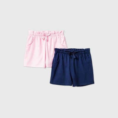 Baby Girls' 2pk Pull-On Shorts - Cat & Jack™ Blue 3-6M
