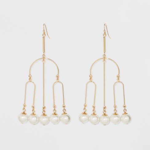 U Shaped Wire and Dangling Pearls Earrings - A New Day™ Gold - image 1 of 3