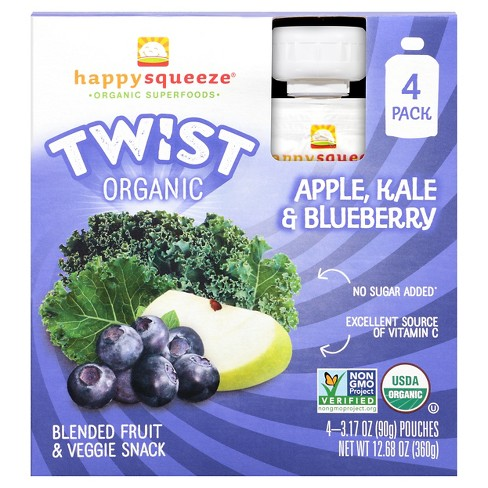 Happy Squeeze Twist Organic Apple Kale & Blueberry Pouches - 12.68oz - image 1 of 6
