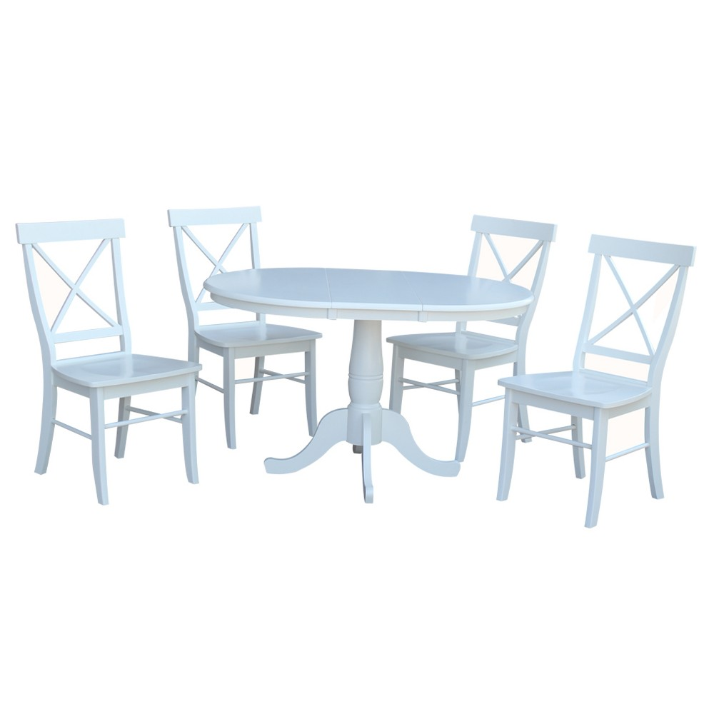 36 5pc Round Extension Dining Table with 4 X Back Chairs Set White - International Concepts