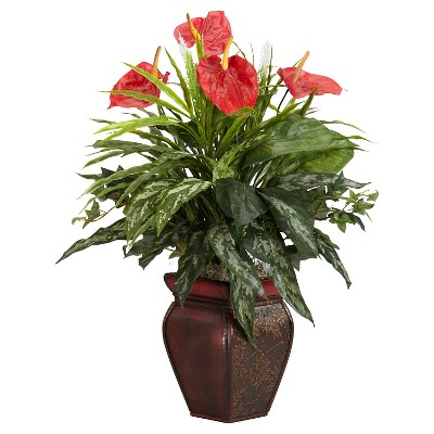 Nearly Natural Mixed and Anthurium w/Decorative Vase Silk Plant