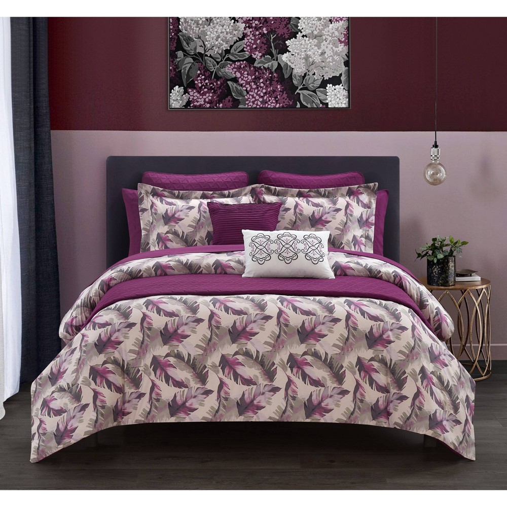 Queen 12pc Kael Comforter Set Purple Chic Home Design