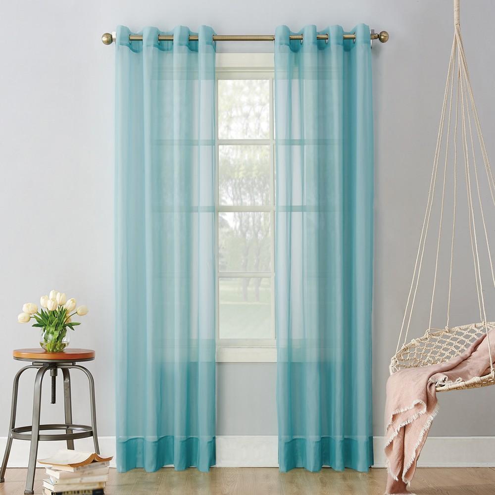 Emily Sheer Voile Grommet Curtain Panel Aegean 59