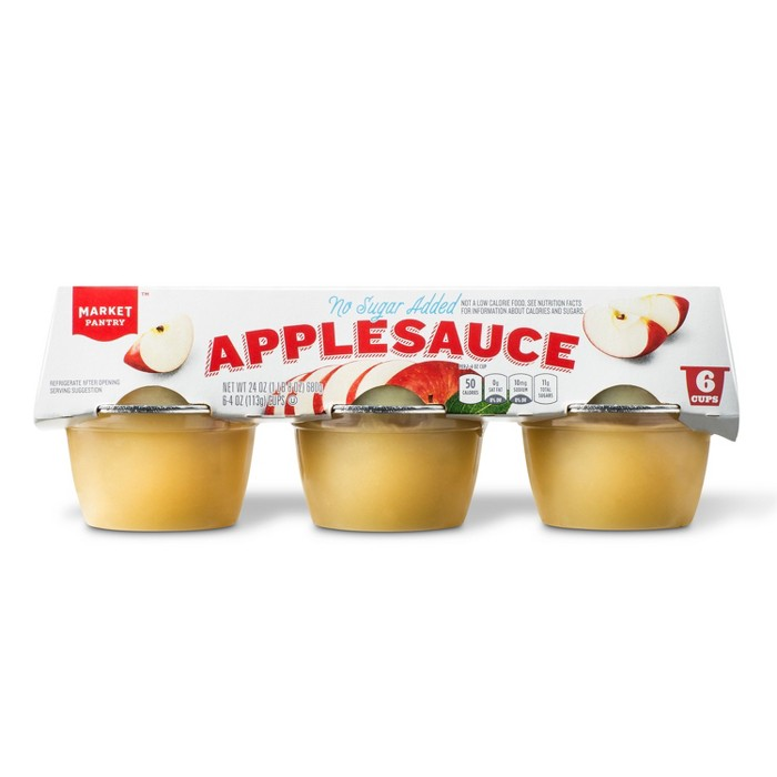 Unsweetened Applesauce Cups 6ct - 4oz - Market Pantry™ - image 1 of 1