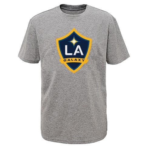 f23ebfe98 Boys  Short Sleeve Penalty Kick Gray Performance T-Shirt Los Angeles Galaxy