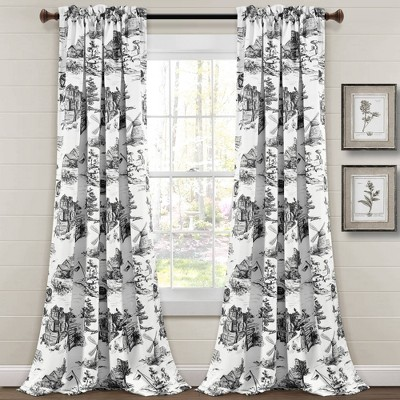 Set of 2 French Country Toile Room Darkening Window Curtain Panels  - Lush Décor