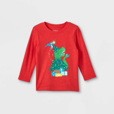 Toddler Boys' T-Rex Christmas Tree Graphic Long Sleeve T-Shirt - Cat & Jack™ Red