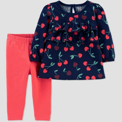 Baby Girls' Cherry Tunic Top & Bottom Set - Just One You® made by carter's Red/Navy 3M