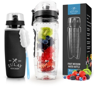 Zulay Kitchen Portable Water Bottle with Fruit Infuser for Healthy & Delicious Hydration  34oz with Insulation Sleeve