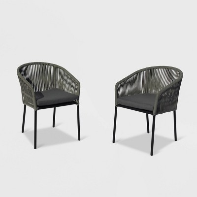 Osborne 2pk Aluminum Outdoor Dining Chairs Set with Cushions - Black - Courtyard Casual