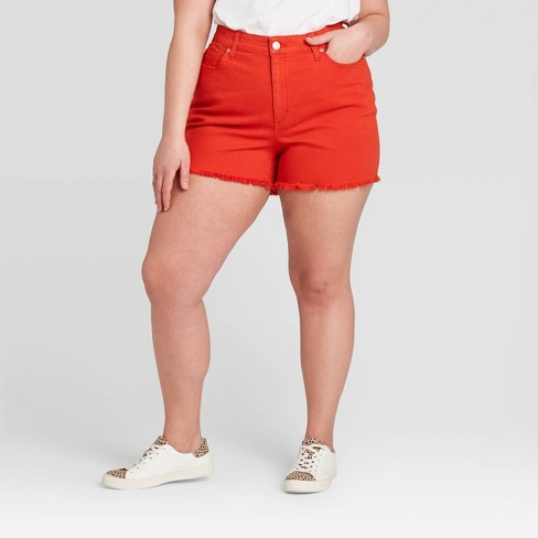 Women's Plus Size High-Rise Jean Shorts - Universal Thread™ Red 22W - image 1 of 3