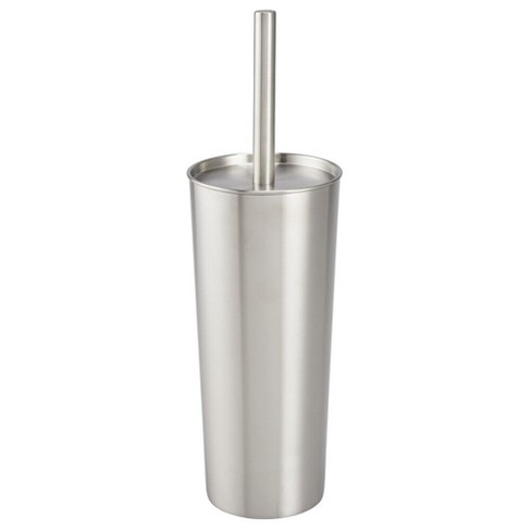 mDesign Modern Compact Stainless Steel Toilet Bowl Brush and Holder - image 1 of 4