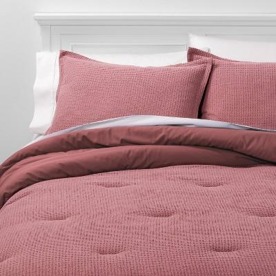 King Washed Waffle Weave Comforter & Sham Set Mauve - Threshold™