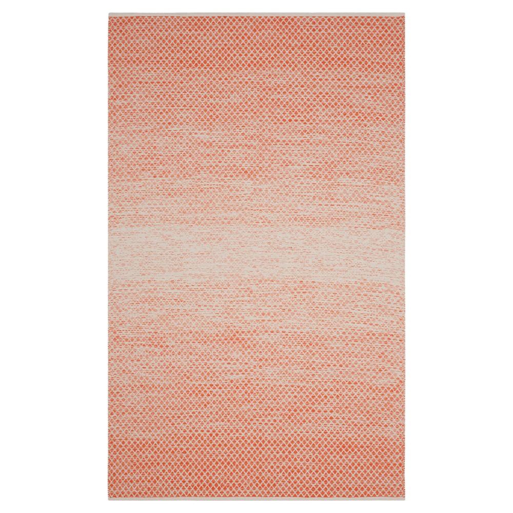 Orange/Ivory Geometric Flatweave Woven Area Rug 5'X8' - Safavieh