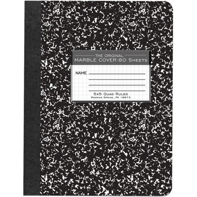 "Roaring Spring Composition Book Quad Ruled 5""x5"" 80 Sh 9-3/4""x7-1/2"" BK 77227"
