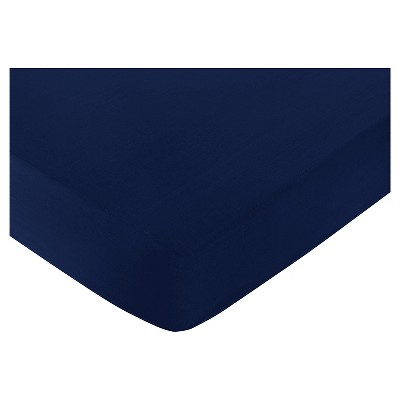 Sweet Jojo Designs Navy Blue & Lime Green Stripe Fitted Crib Sheet - Navy