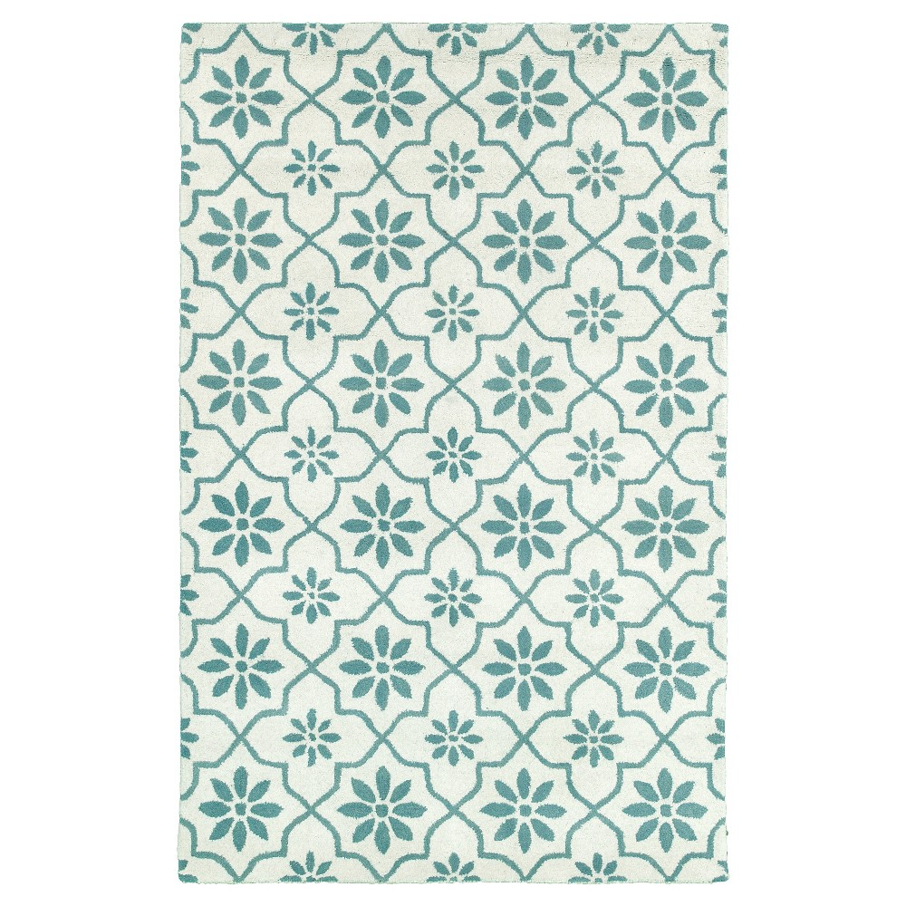 Image of 8'X10' Floral Area Rug White - Rizzy Home, White Blue