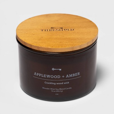 Lidded Glass Jar Crackling Wooden Wick Candle Applewood and Amber - Threshold™