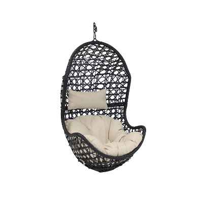 Sunnydaze Outdoor Resin Wicker Patio Cordelia Hanging Basket Egg Chair Swing with Cushion and Headrest - Beige - 2pc