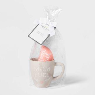16oz Stoneware Mom Fuel Mug and Tea Towel Set Gray - Threshold™