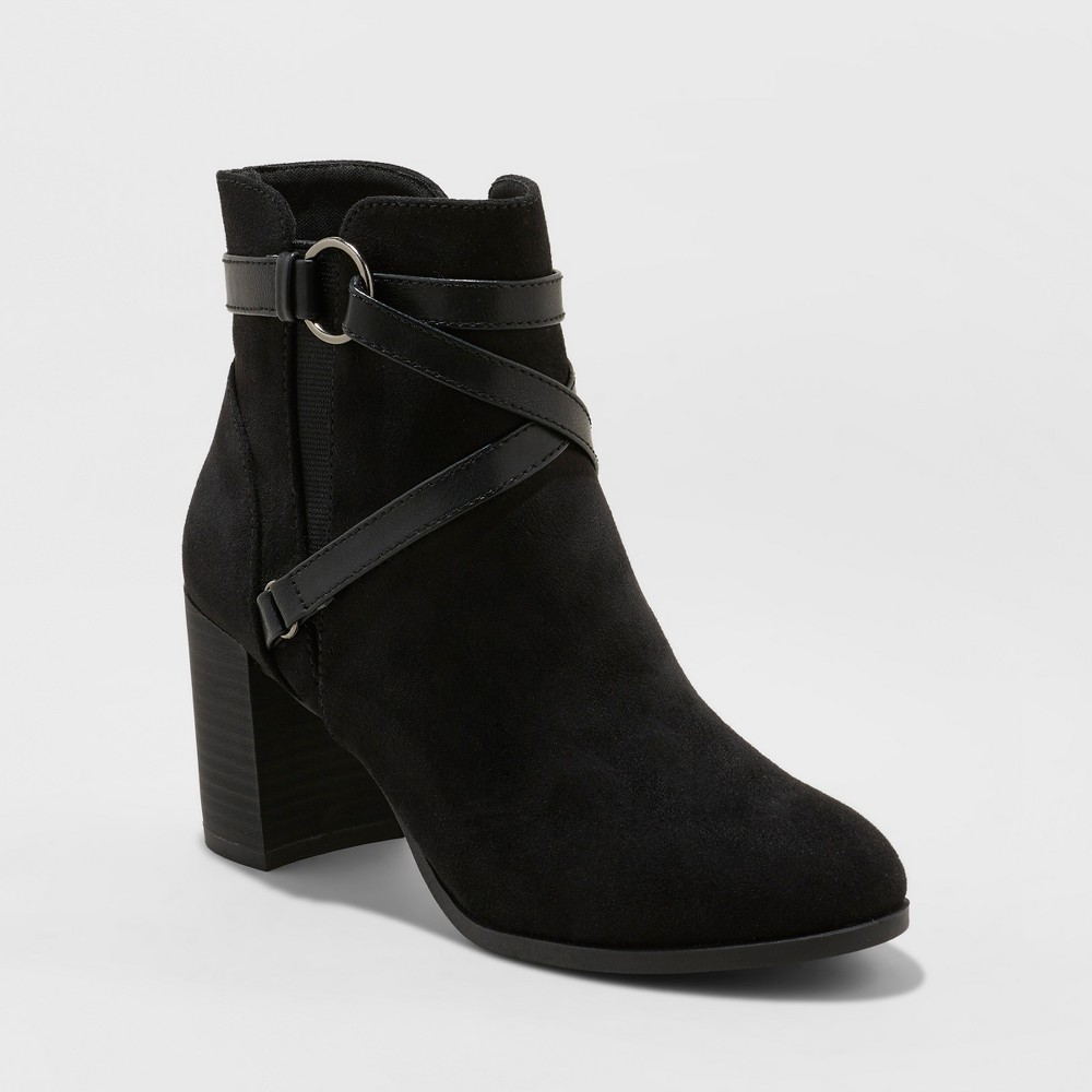 Women's Naveia Wrap Water Repellent Ankle Fashion Boots - A New Day Black 9