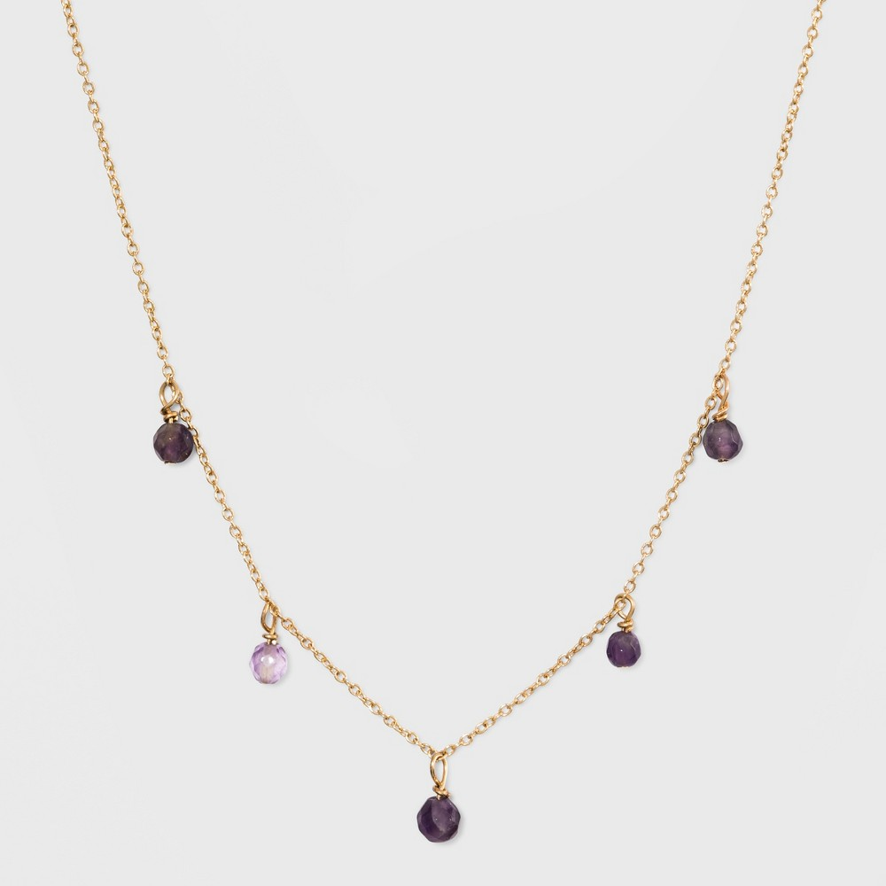 Silver Plated Stone Bead Necklace & Earring Set - A New Day Purple/Gold, Girl's