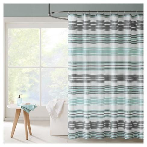 Raquel Stripes Puckering Stripe Shower Curtain