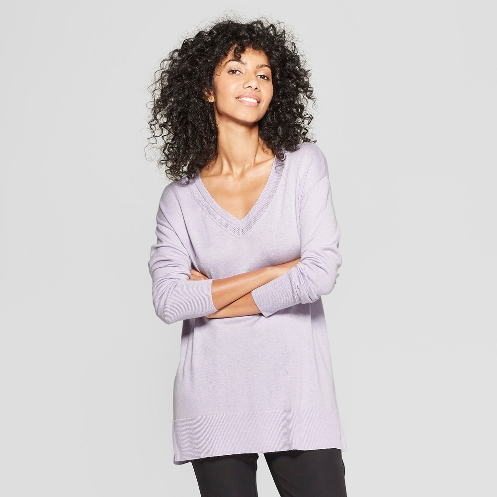 Women's V-Neck Luxe Pullover Sweater - A New Day Lavender (Purple) XL