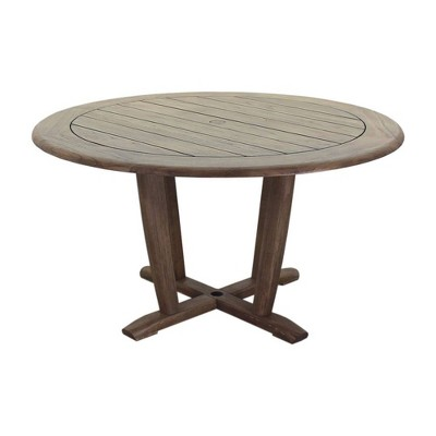 "Avalon FSC Teak 54"" Round Dining Table - Gray - Courtyard Casual"
