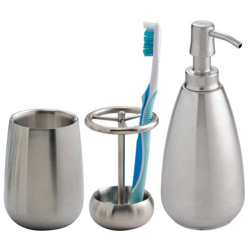 Nogu Stainless Steel Bath Accessories Combo Brushed - iDESIGN - image 1 of 4