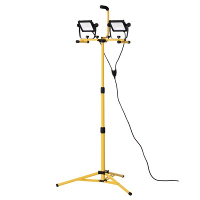 HOMCOM 8000 Lumen LED Work Lights Dual Head Weather Resistant with Tripod Stand