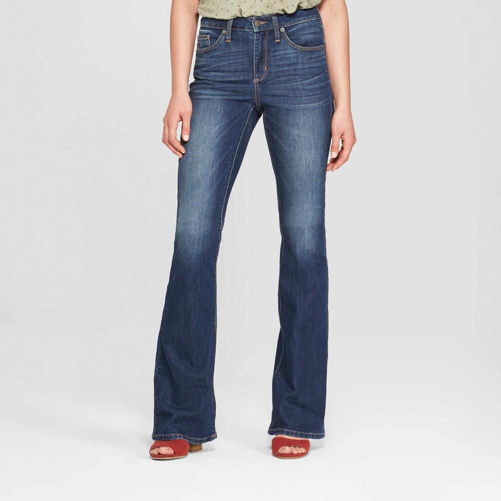 Women's High-Rise Flare Jeans - Universal Thread Dark Wash 00 Long, Blue