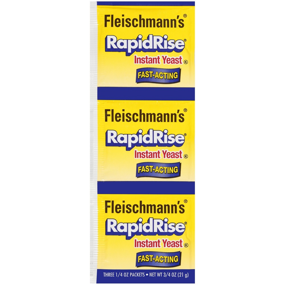 Fleischmann's RapidRise Yeast - 3ct Fleischmann's Rapid Rise dry yeast also known as instant yeast, saves time by requiring only one rise. Simply add to dry ingredients, then follow your recipe. No need to hydrate in water. Works great in bread machines. For most doughs: 1.Knead; let rest 10 minutes 2.Shape; let rise until double 3.Bake. With 150 years experience, baking with Fleischmann's is an enjoyable experience everytime.