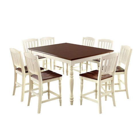 Sun Pine 9pc Cottage Style Counter Dining Table Set Wood Vintage White And Dark Oak Target