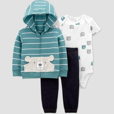 Baby Boys' Bear Striped Short Sleeve Top & Bottom Set - Just One You® made by carter's Teal 9M