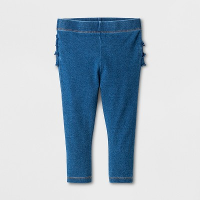 Baby Girls' Ruffle Faux Jeans - Cat & Jack™ Light Wash Newborn